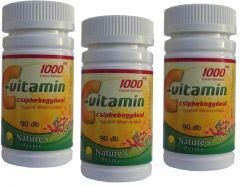 9 havi adag! 1000mg C-vitamin + csipkebogyó. Nyújtott felszívódású! (3 x 90 db)