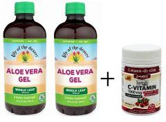 2 Aloe Vera GÉL + AJÁNDÉK 90db C-vitamin (1000mg)