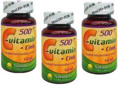 3 doboz 500mg C-vitamin + Cink (3 x 60db)