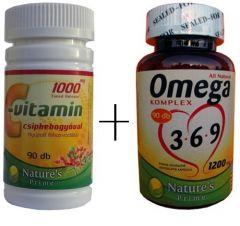 Prémium Omega 3-6-9 halolaj és C-vitamin, csipkebogyóval (Optimális kombináció)