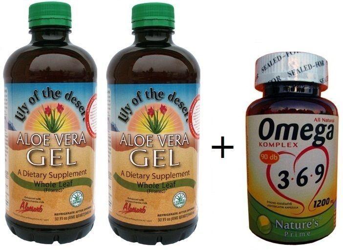 2 palack Aloe Vera Gél + AJÁNDÉK 90db Omega 3-6-9