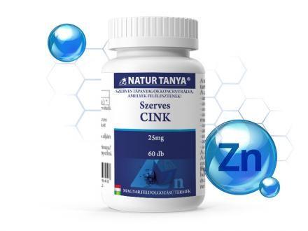 25 mg-os Szerves Cink tabletta. (A szervezet számára nélkülözhetetlen vitamin)