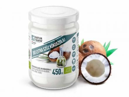 Bio extra szűz kókuszolaj (VCO). Kémiai anyagoktól mentes. Ehető és kenhető. 450ml