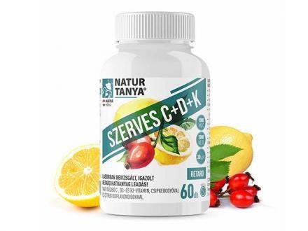 SZERVES C+D+K - Retard 1000mg C-vitamin, 2000IU D3-vitamin, 30 µg természetes natto fermentációjából származó K2-vitamin, csipkebogyó kivonat és citrus bioflavonoidok